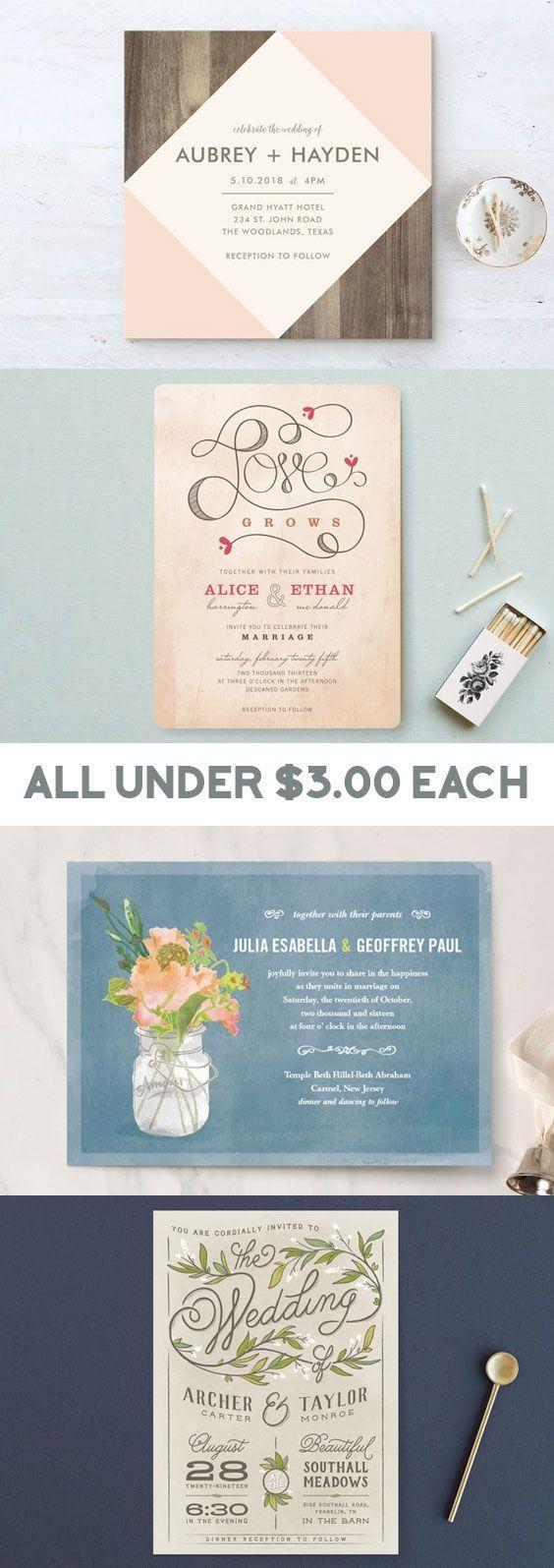 Rustic wedding invitations under $3.00 #barnwedding #invitation ...