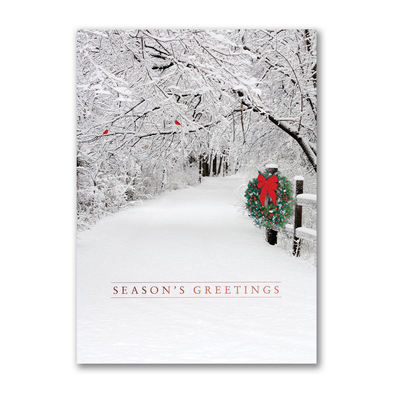Snowy Lane Seasons Greetings Business Christmas Greeting Cards