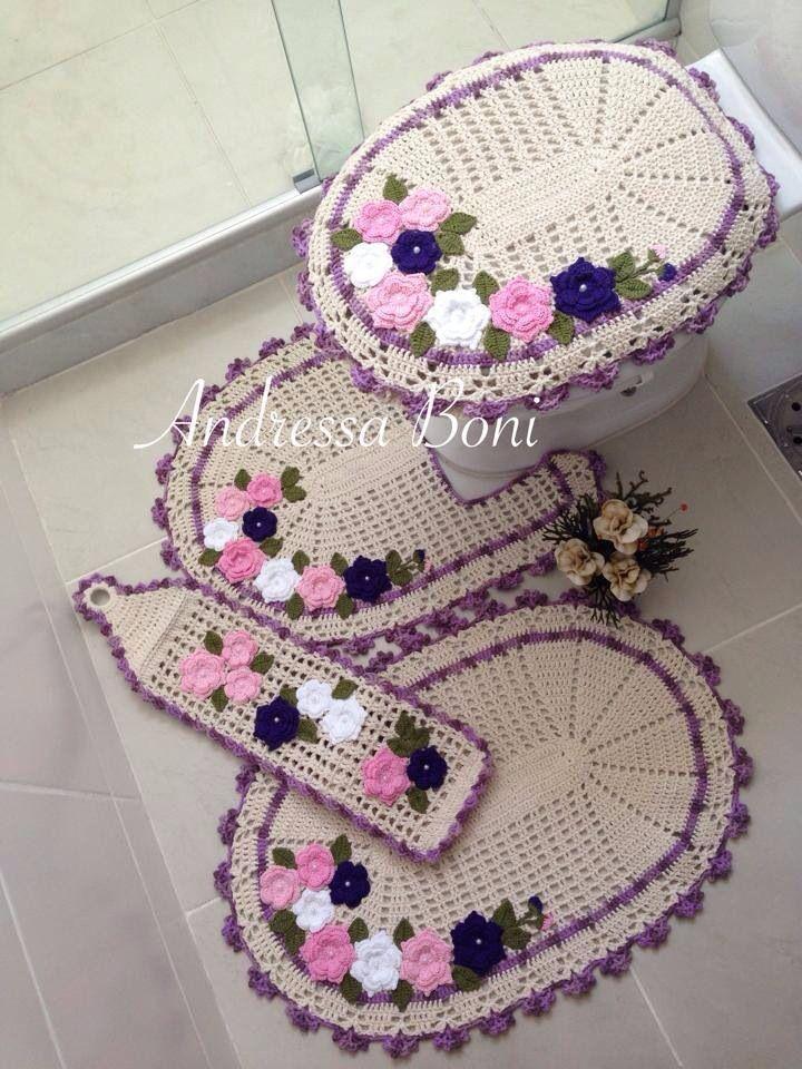 Resultado de imagen para juego de ba o a crochet con for Set de bano tejidos