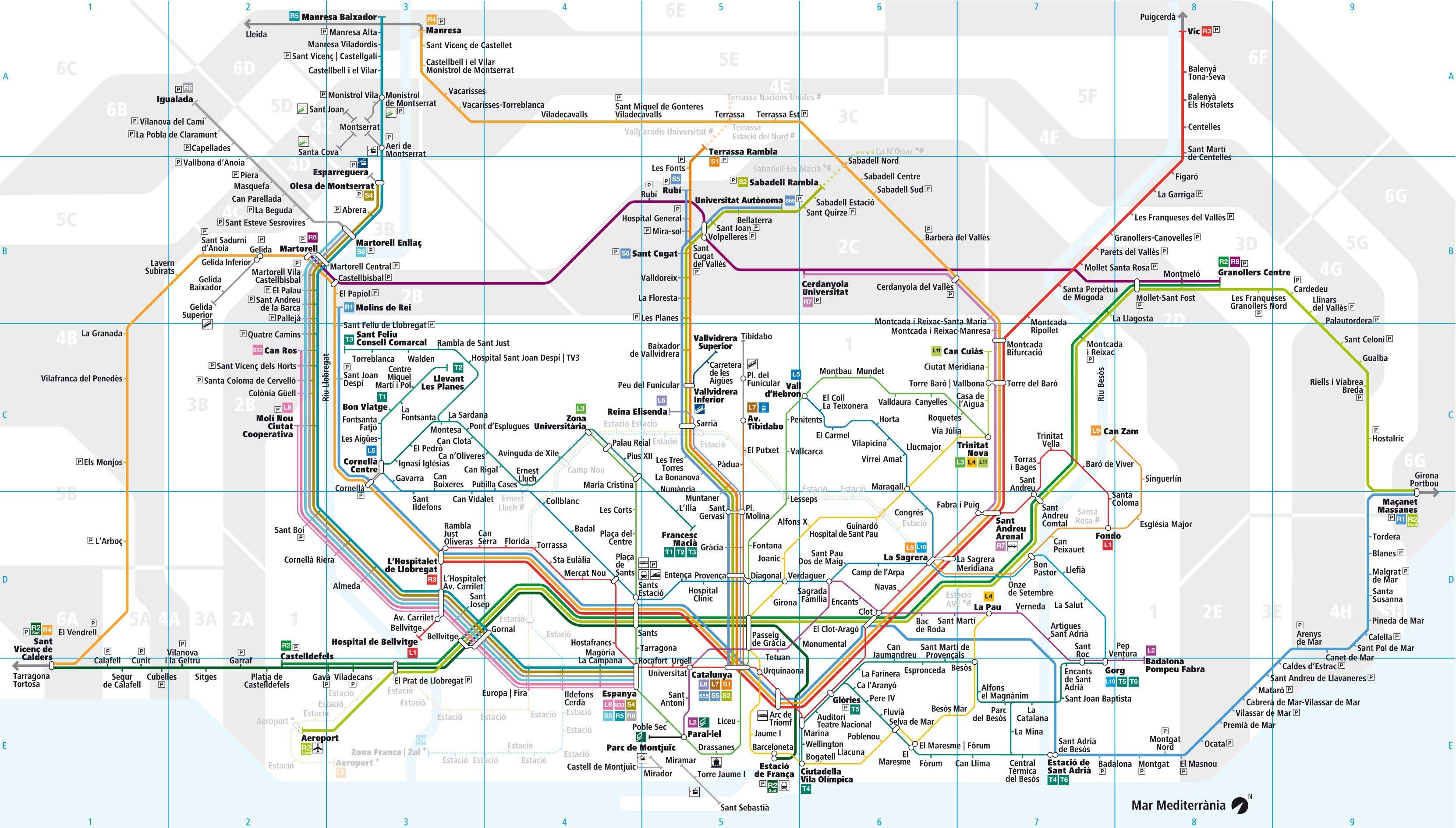 Plano De La Red De Tren Urbano Y Cercanias Rodalies De Barcelona