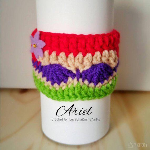 Ariel coffee cup cozy, cup cozy, crochet cup cozy disney cup cozy, tumbler cozy, coffee cozy,... #disneycups