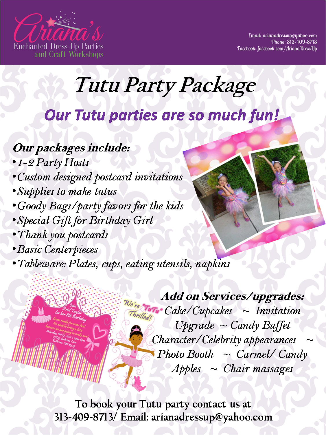 Tutu Party Package Party packages, Tutu party, Postcard