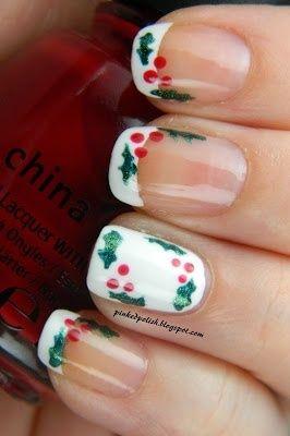 Christmas Holly Nail Art Design Nails Nails Pinterest Xmas