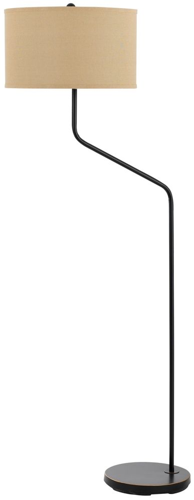 "Bronze Offset Arm Floor Lamp Textured Linen Hardback Drum Lampshade 60""H"