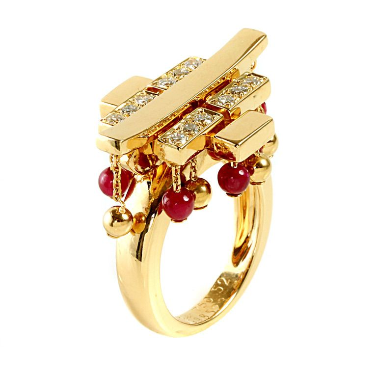 Cartier Le Baiser du Dragon Ruby Diamond Yellow Gold Ring | From a unique collection of vintage cocktail rings at http://www.1stdibs.com/jewelry/rings/cocktail-rings/