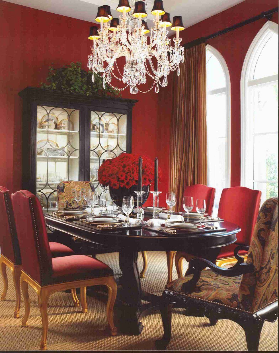 Red Dining Room With White Trim And This Dining Room Table