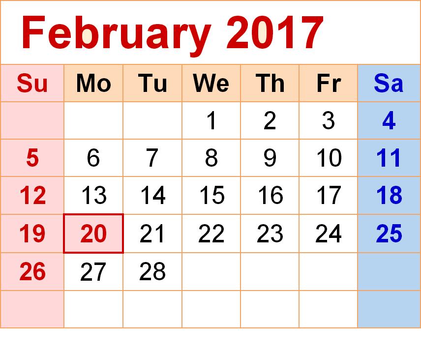 february 2017 calendar february 2017 printable calendar february