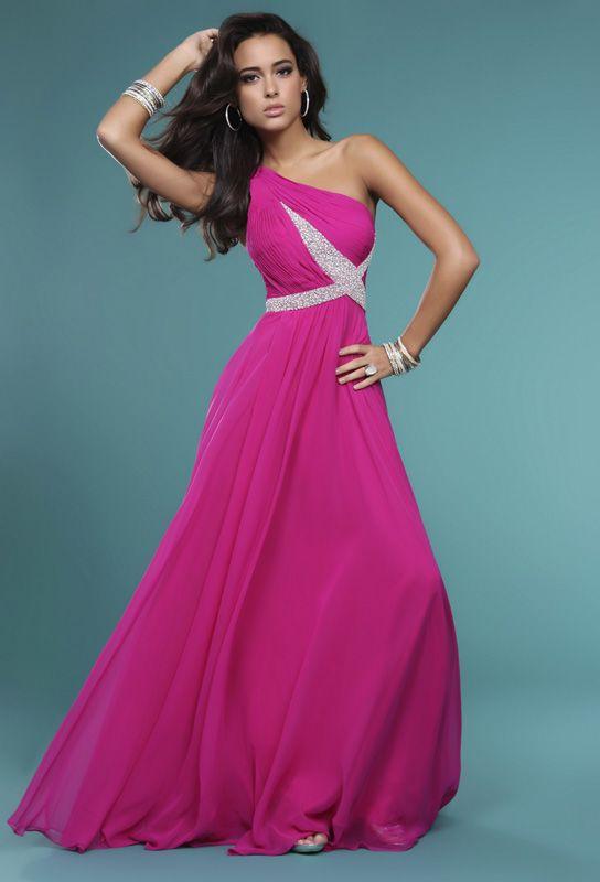 Fuchsia A-Line One Shoulder Zipper Floor Length Celebrity Dresses ...