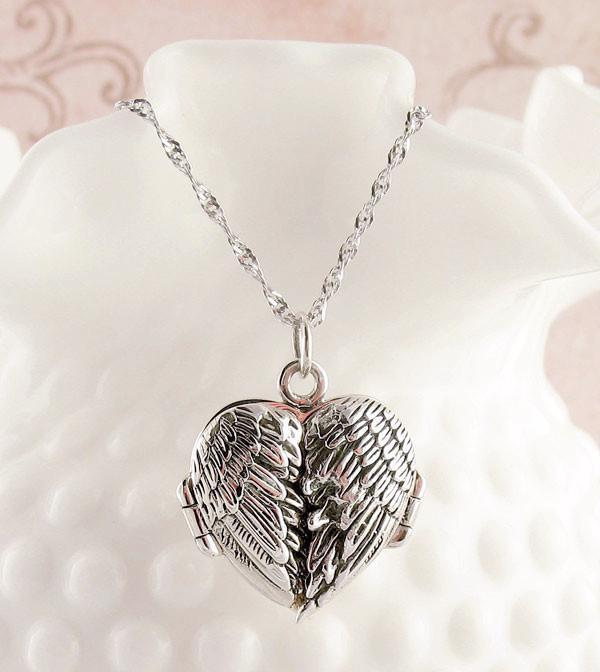 angel wings heart locket necklace with message inside in sterling