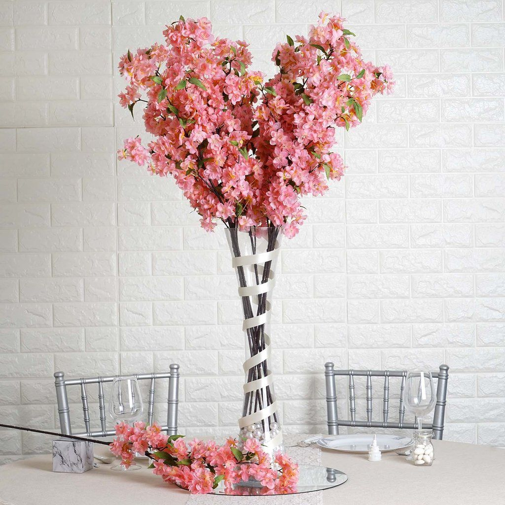 10 Pack 40 Tall Silk Artificial Flowers Faux Cherry Blossoms Branches Blush Rose Gold Cherry Blossom Wedding Centerpieces Floral Arrangements Wedding Diy Wedding Flower Centerpieces