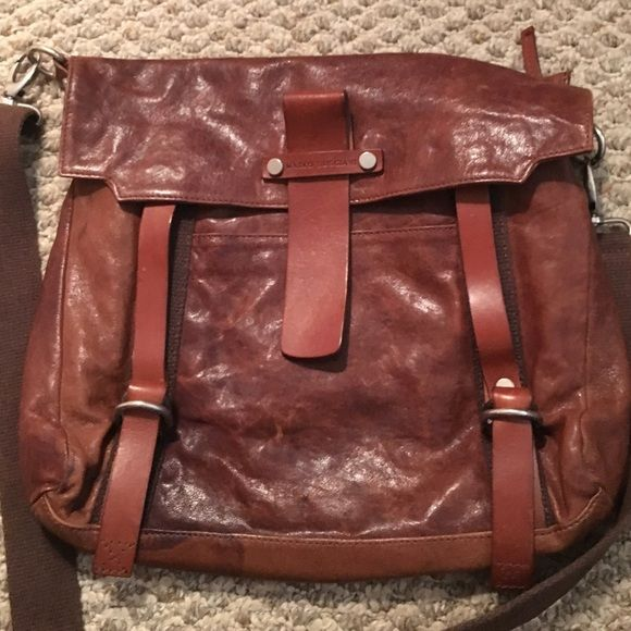 Marco Buggiani Brown Leather Bag Messenger In