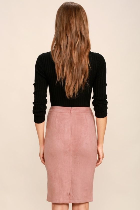 7c53fa648 Lulus | Superpower Blush Suede Pencil Skirt | Size Medium | Pink | 100%  Polyester | Vegan Friendly