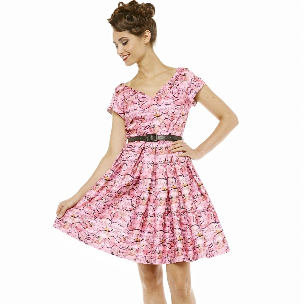 099add8781389 Aria' Ballet Print Pink Swing Dress - from Lindy Bop UK | Style Wish ...