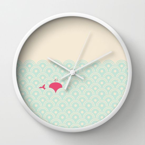 Pink Whale Wall Clock