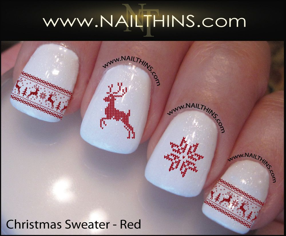 Christmas Sweater Nail Decal Designs Set #1 | Nail decals