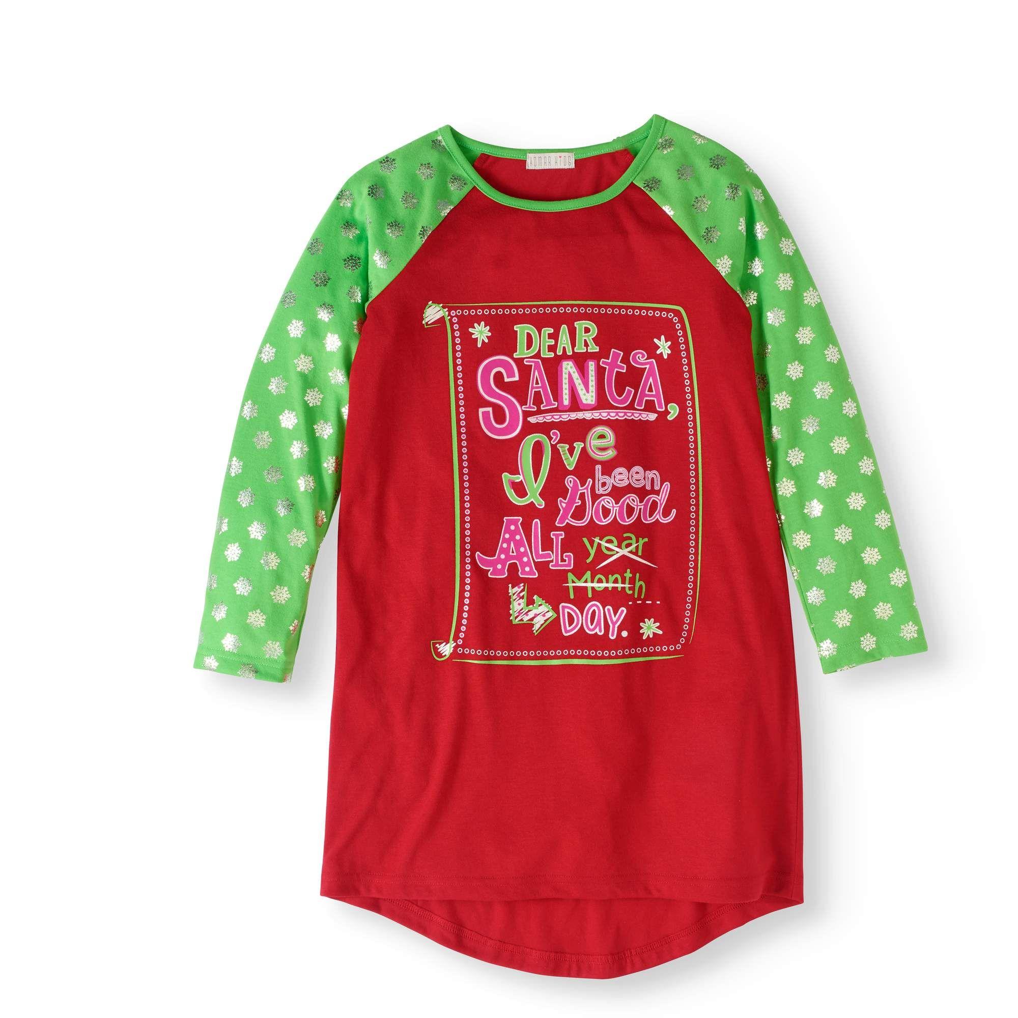 U//N Girls/Christmas/Nightgown/Soft/Cotton/Santa/Claus/Sleepwear
