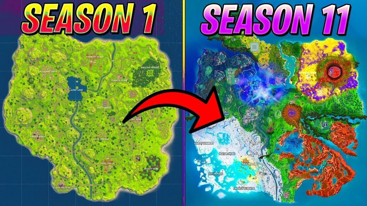 Evolution Of Fortnite Map All Seasons 1 11 With Images