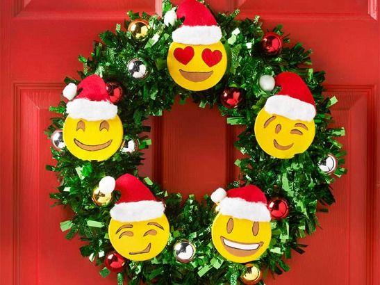 Emoji Holiday Wreath And Diy Christmas Tree Emoji Christmas Holiday Crafts Christmas Emoji Christmas Tree