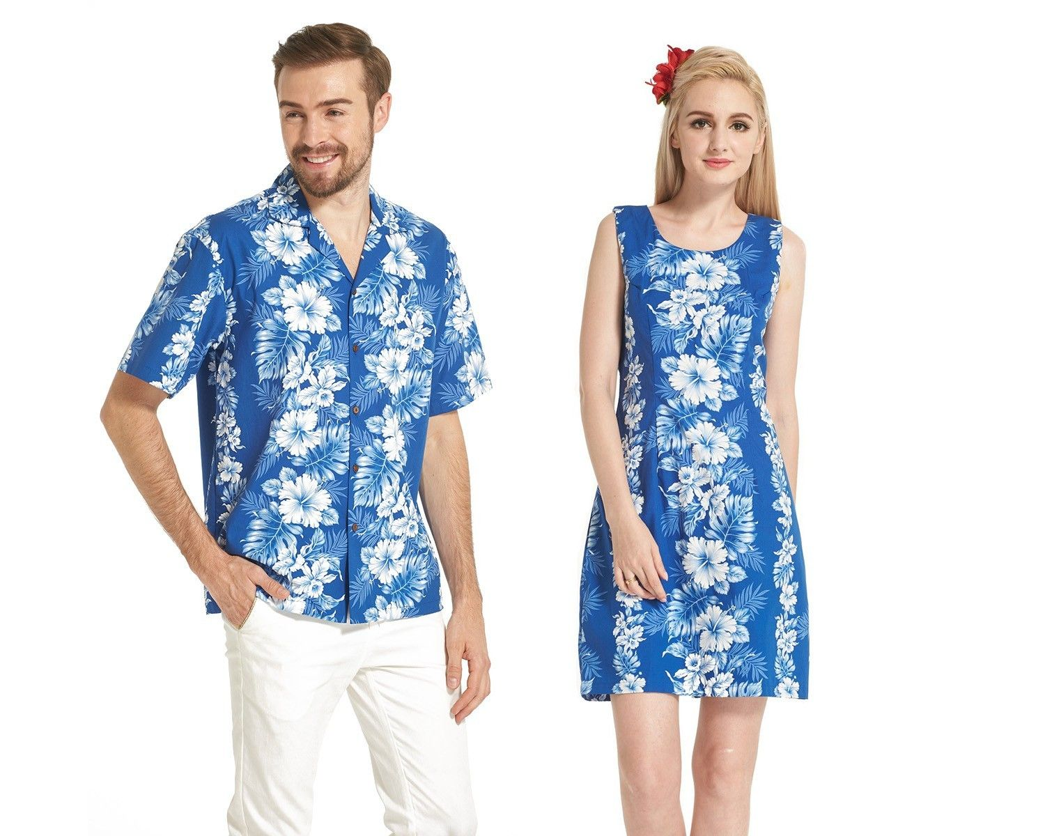 480b06f6a89 COUPLE MATCHING MADE IN HAWAII MEN SHIRT AND WOMEN TANK DRESSES in White  Floral in Blue