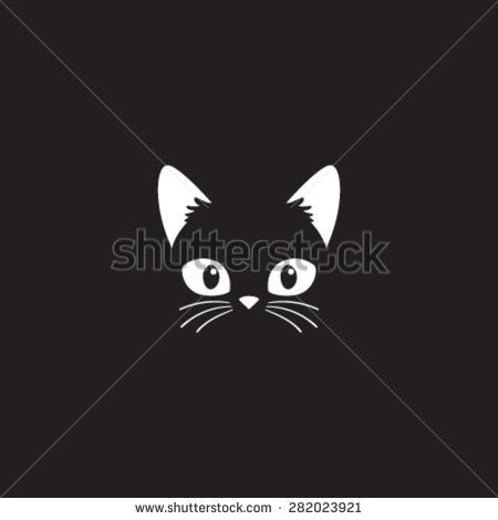 Simple cartoon cat icon on a black background. Vector Illustration. - stock vector