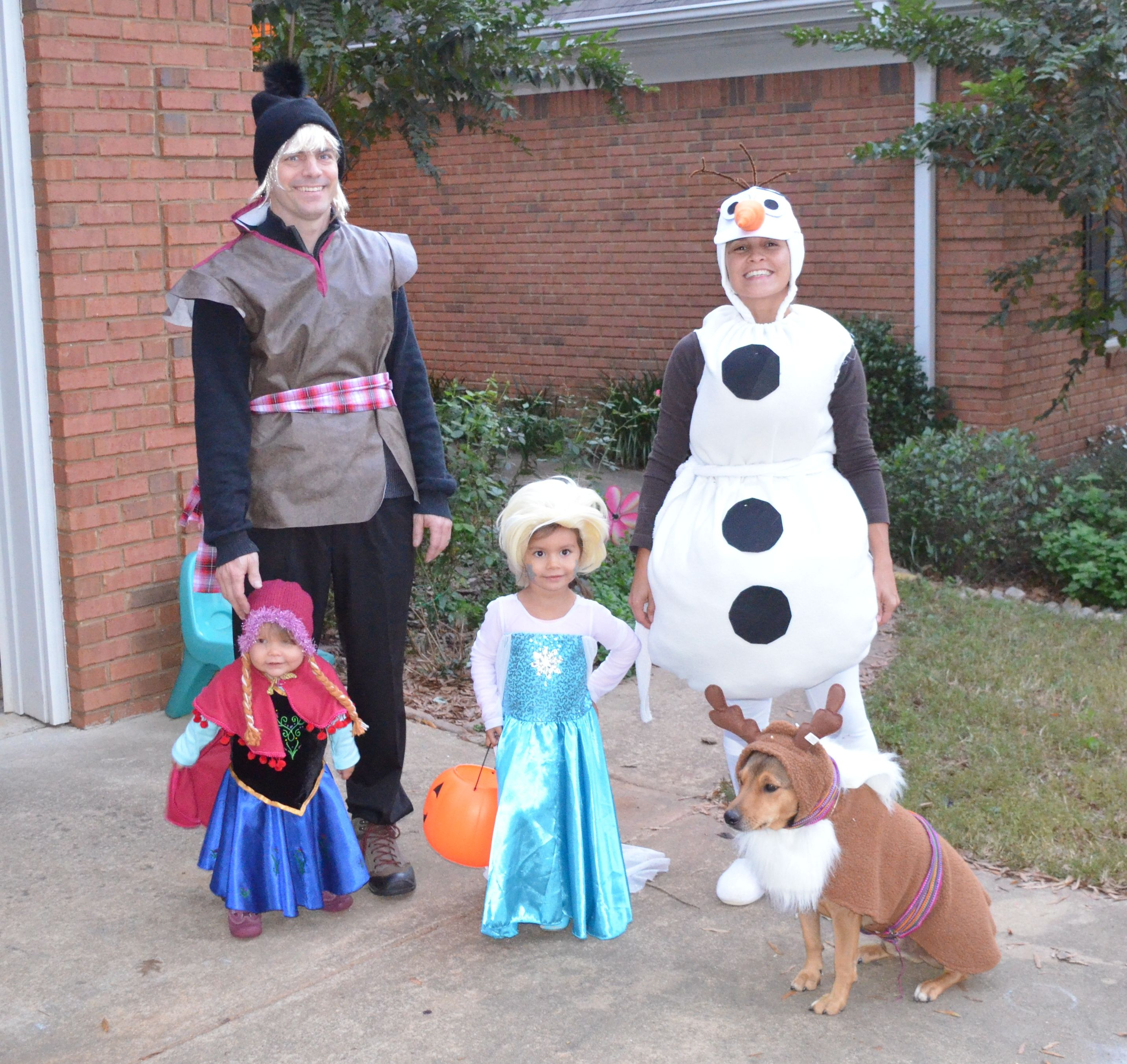 Family costume frozen, elsa, olaf, anna, kristoff and sven dog costume