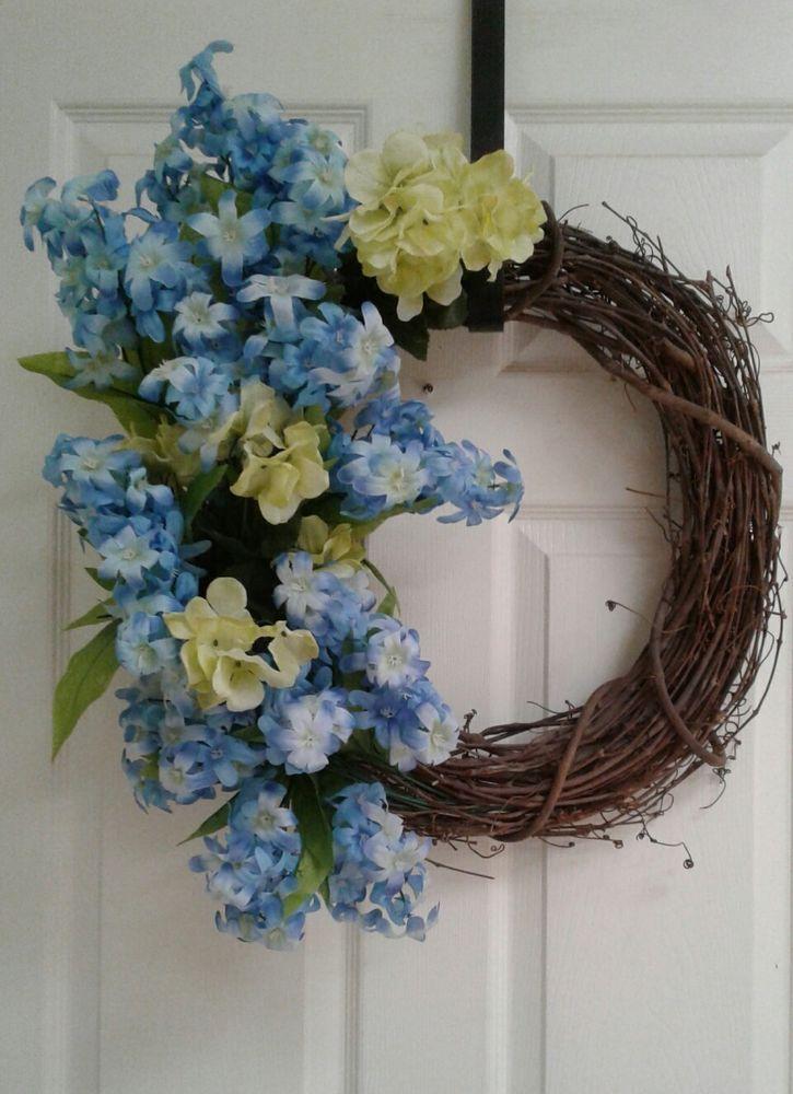 Large Hyacinth Hydrangea Greenery Wreath Grapevine Primitive Door Decor  #Handcrafted