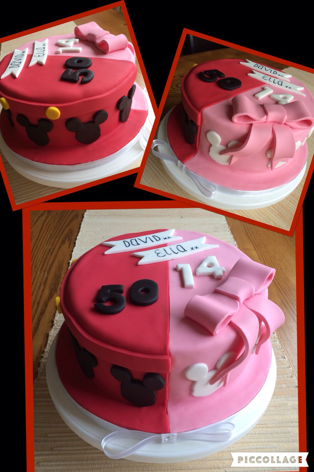 Half Mickeyhalf Minnie birthday cake for father and daughter Zach