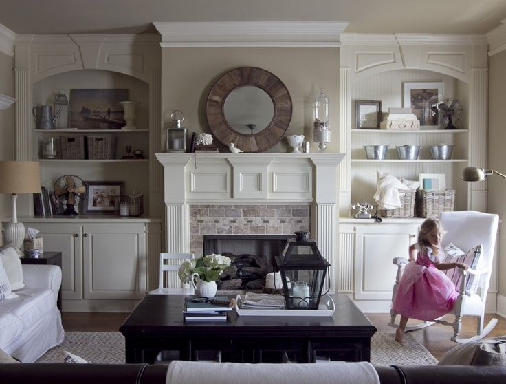 Decorating Ideas For Fireplace Mantel And Bookshelves In The Living