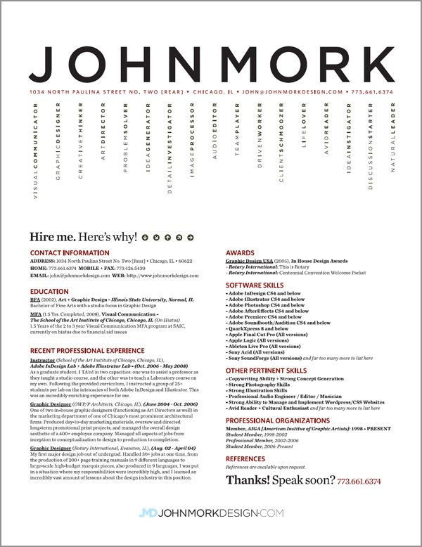resume design ideas like the vertical listing the rest is too