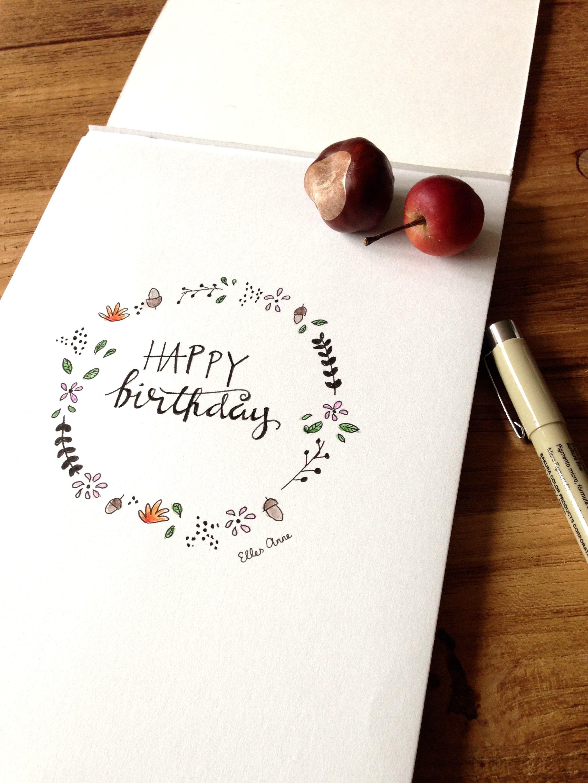 Photo of Herfstkrans // Kranz // Happy Birthday // Handlettering // Aquarel // Ontwerp e …