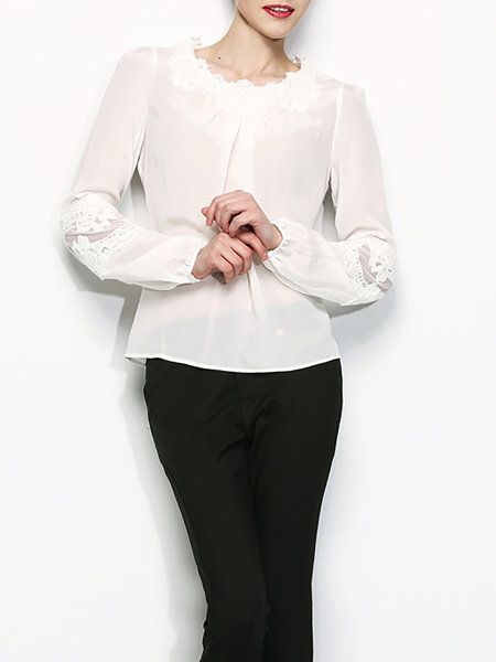 Plain Elegant Long Sleeve Blouse