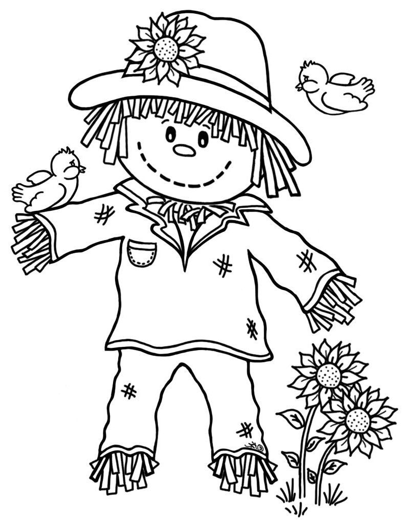 Scarecrow Coloring Fall Coloring Pages