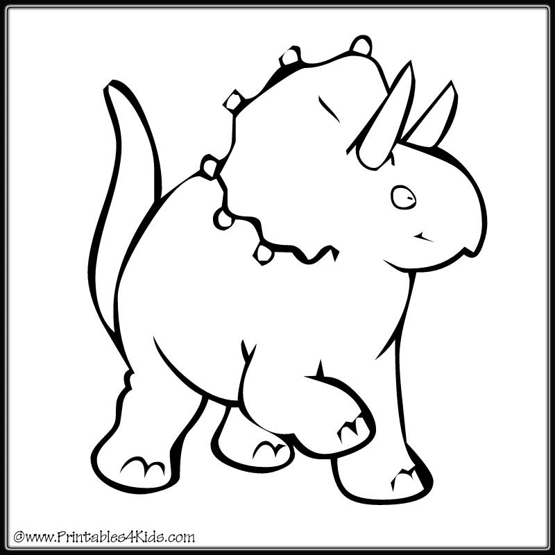 dancing triceratops dinosaur coloring page printables for kids