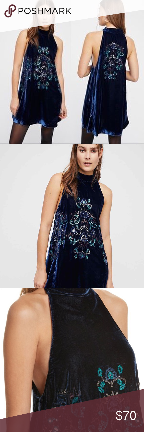 7f468e0b7fe1 Free People Jill's Sequin Velvet Swing Dress NWT Luxe navy blue velvet,  with an eye