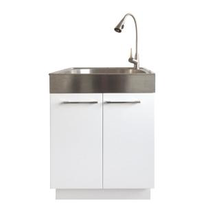 Glacier Bay All In One 24 2 In X 21 3 In X 33 8 In Stainless Steel Laundry Sink With Faucet A Laundry Sink Laundry Room Sink Small Laundry Room Organization