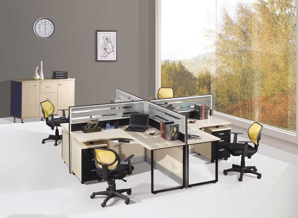 Modern interior design and simple work bench with computer and glass barriers also medium closet with grey walls walls office chair design ideas