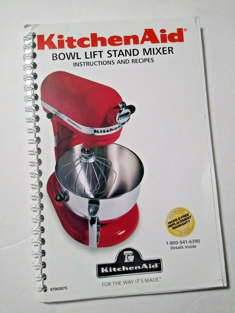 Kitchenaid Bowl Lift Stand Mixer Instructions Recipes Booklet