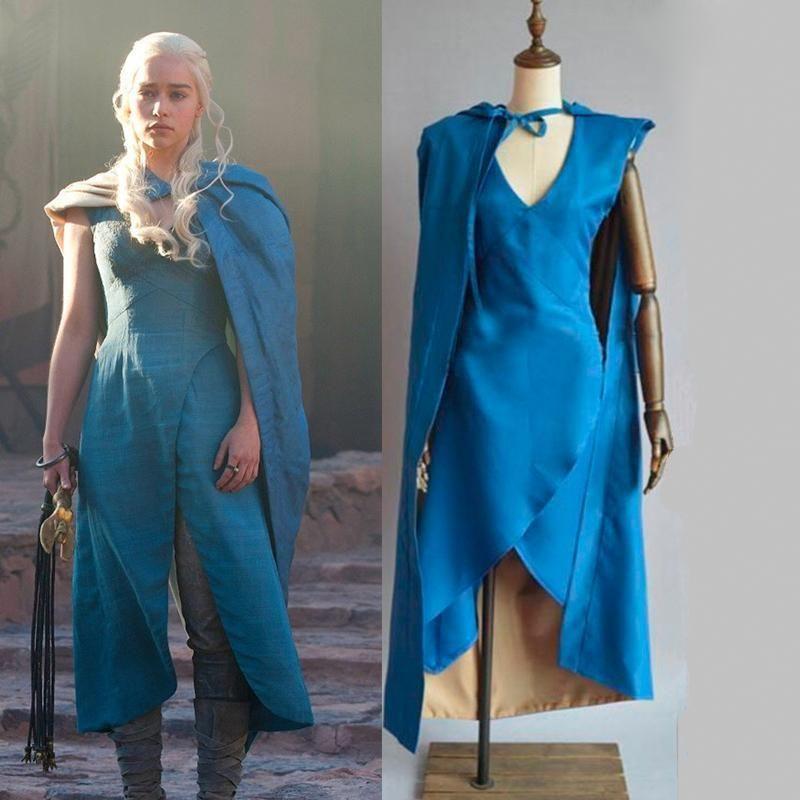Mother of Dragons Game of Thrones Daenerys Targaryen Costume Long Dress Wig Hot