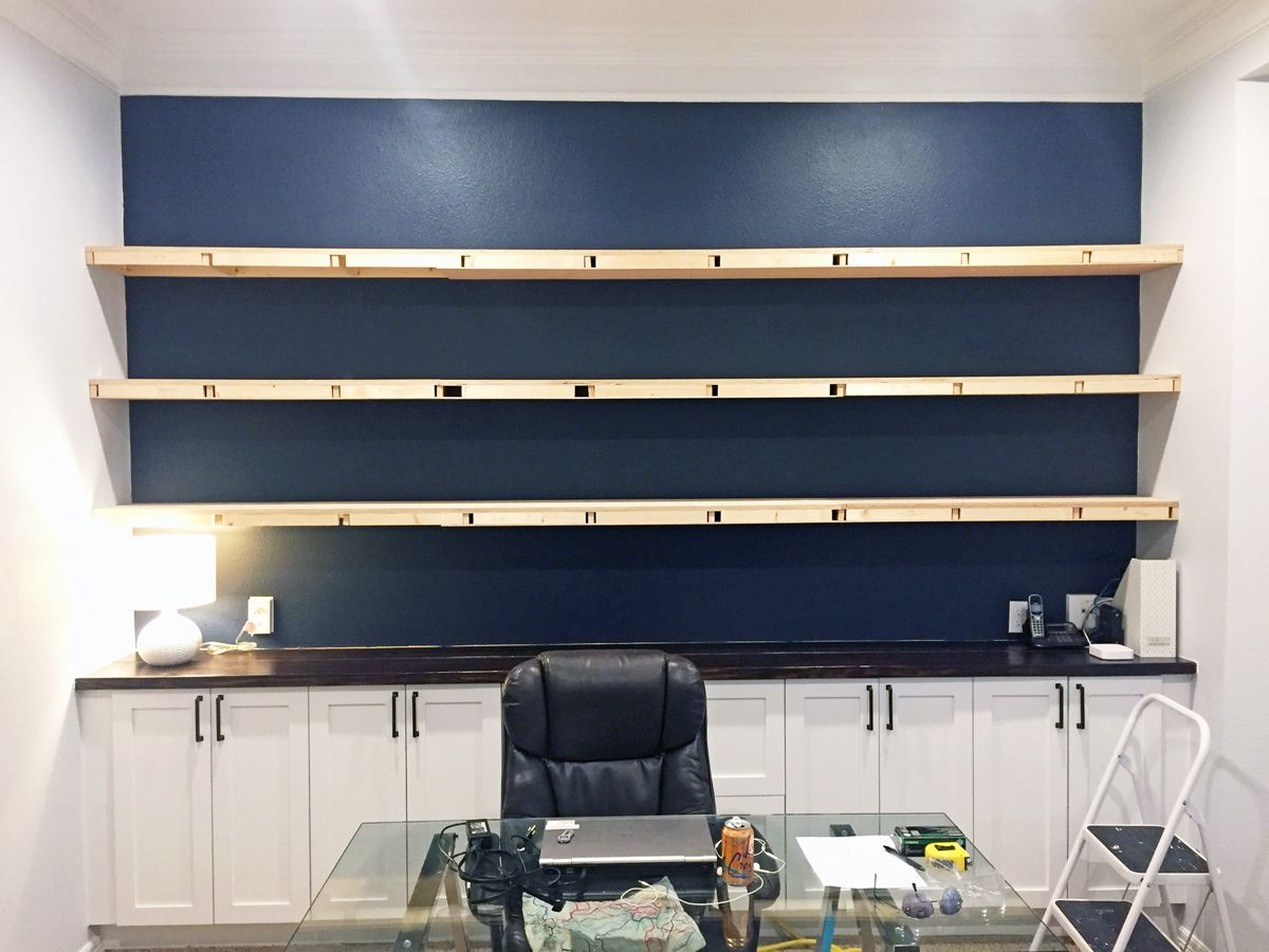 How I Built Wall To Wall Floating Shelves In Our Home Office For