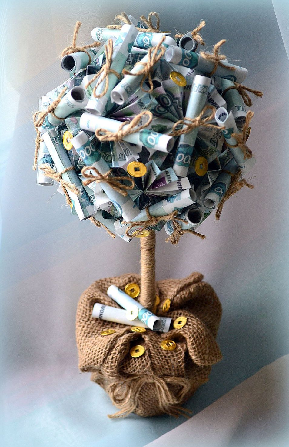 Денежное дерево своими руками с настоящими деньгами