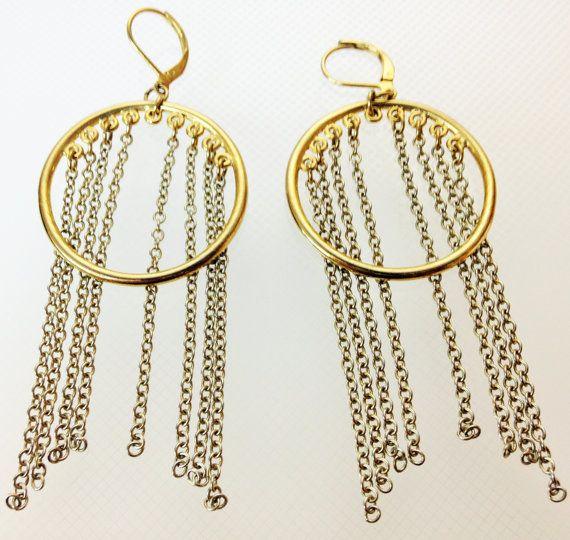 20% OFF Everything SALE-ONLY 5.00 was 12.99  Retro Chain Earrings Vintage Fringe Earrings Gold Silver Earrings Open Circle Earrings Pierced