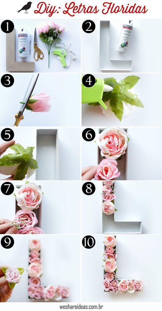 Diy como fazer letras floridas haus deko schlafzimmer for Studentenzimmer deko