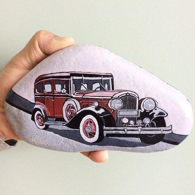 Antika Arabalar Serisinden Biri Daha Yağlıboya Taş Taşboyama