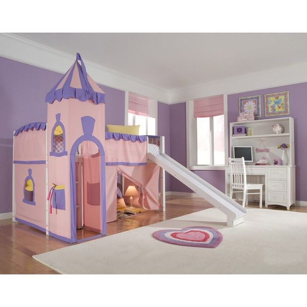 NE Kids School House White Junior Loft with Slide and Princess Tent | Overstock.com Shopping - The Best Deals on Kids' Beds