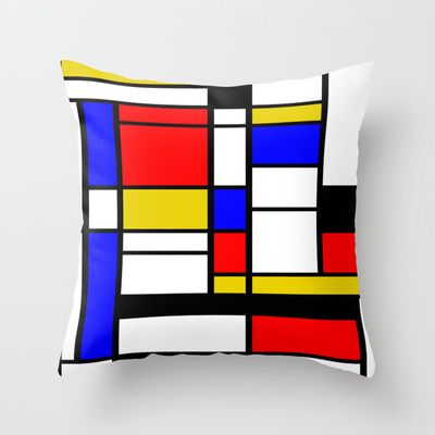Art work inspired to P. Mondrian (n.1) Throw Pillow by THE USUAL DESIGNERS - $20.00