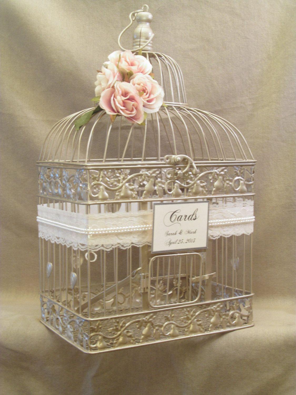 Wedding Card Box Champagne Birdcage Pearls Bird Cage Holder Elegant Gold