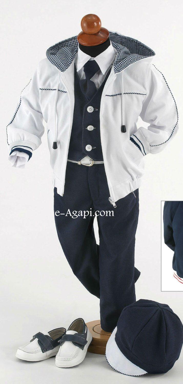 7 pcs Greek Baptism suit * Baby boy christening outfit * Blue ...
