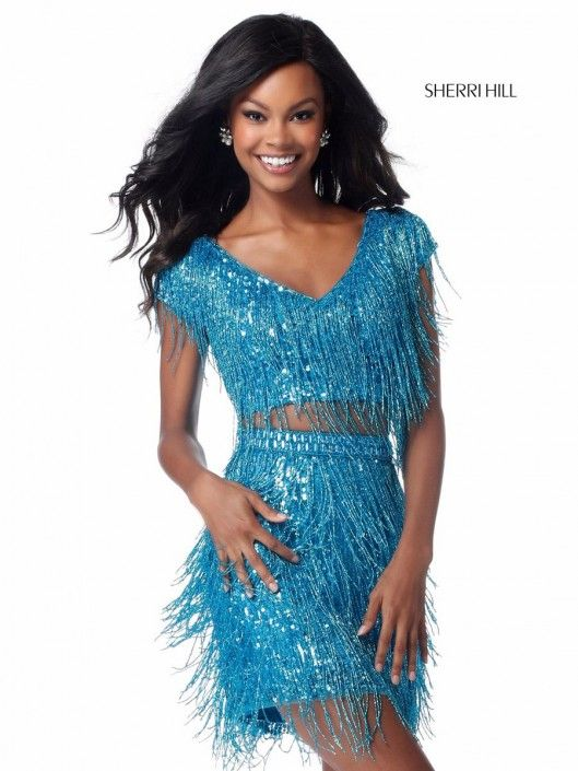 b556fab555c Style 51781 from Sherri Hill is a two piece short fringe prom dress with  cap sleeves and V neck.