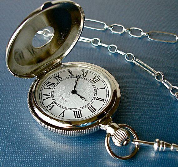 bded7b98565 Antique Silver Pocket Watch Fob Handmade Chain Hunter Case Roman Numerals  Wedding Father Bride Groom Groomsmen