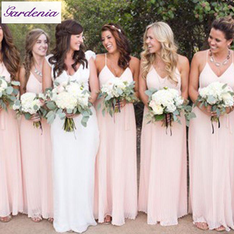 2017 New Arrival Elegant Sweetheart Back Sleeveless Pleated Long Chiffon Blush Pink Bridesmaid Dresses Patterns